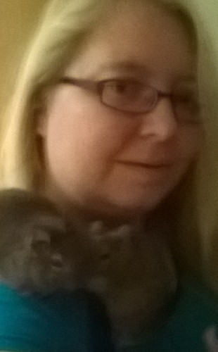 Me and my two adorable degus, Scrat and Diego. Excuse the picture quality, it was low lighting and I haven't managed to get a better one with both the boys!