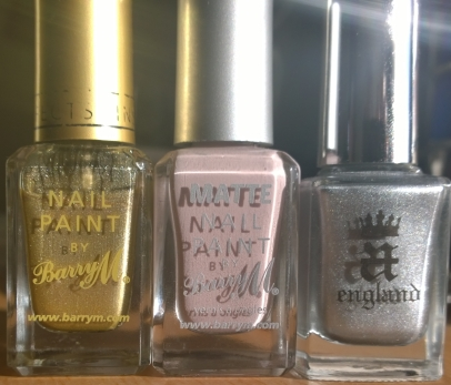 Bottles in daylight - Barry M Gold Foil, Barry M Vanilla and A England Excalibur Renaissance