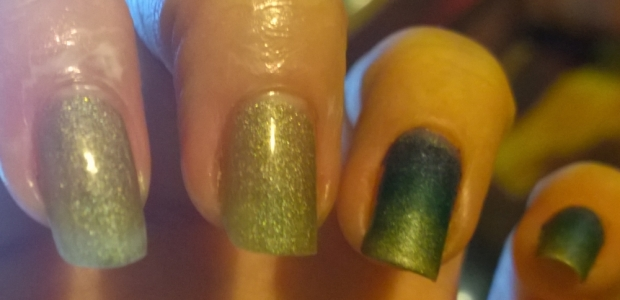 "2 already done nails and 2 with just a base coat of ""Princess Sabra"" on. It works best if you use a base layer of your paler colour just to start things off then add your gradient over it. The white stuff around the nails is OPI ""Glitter Off"" which will make clean up far easier."