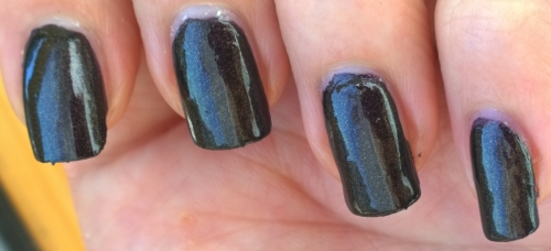 In the shade this is still a highly shiny polish that is perfect when you want a dark shade without going black