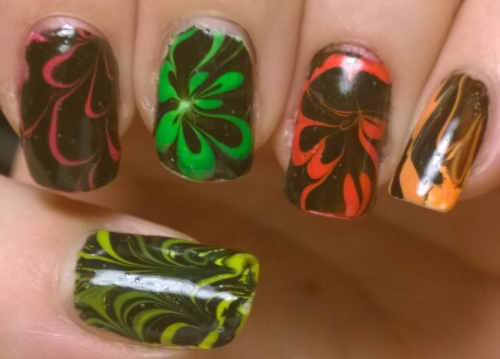 Bright neon marble mixed with black to really stand out