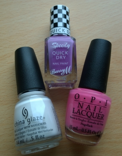 "China Glaze ""White on White"", Barry M ""Need for Speed"" and OPI ""Kiss Me I'm Brazillian"""
