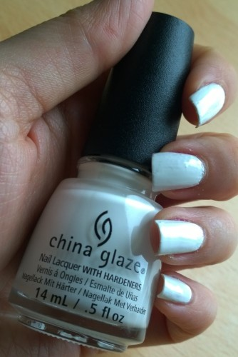 China Glaze White on White - my first China Glaze and I'm impressed. 2 coats which is good for a white and not at all streaky or tippex looking.