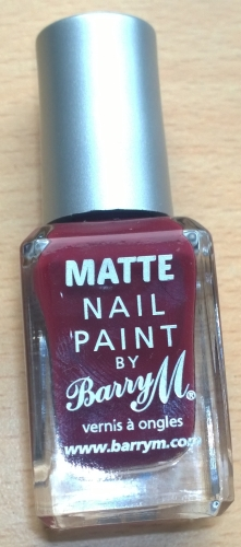 "Finally what more could you want than a beautiful deep berry? I don't know what this one is called (possibly ""Crush?""), the label has rubbed off on my bottle but I love the Barry M Matte nail paints."