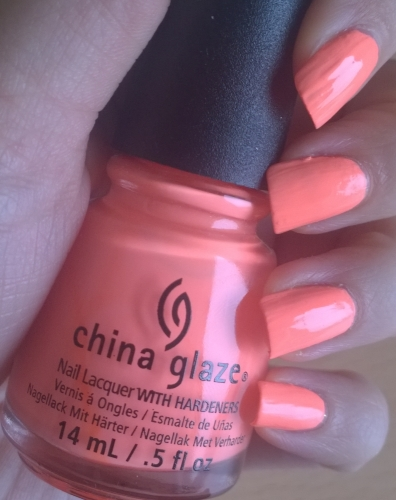 "China Glaze ""Flip Flop Fantasy"" - my colleague immediately stole this one as she's going to Spain tomorrow and this is a perfect colour for tans. Lovely neon coral/peach with a slightly matte finish. This was 2 coats"