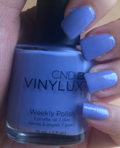 CND Vinylux Weekly Polish - Wisteria Haze. A gorgeous dusty blue/lilac colour that dries very shiny and is designed to be used with the top coat also in this box. 2 coats shown
