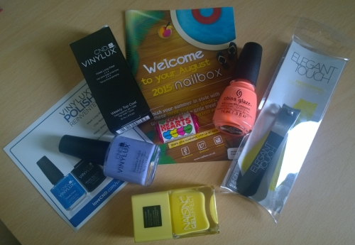 Contents of the August Nailbox. Finishing summer in style