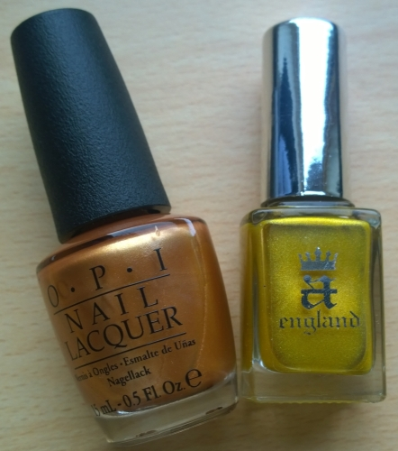 "Gold just goes beautifully, it reminds me of the leaves when they're just turning from green to red/brown. Featured here are OPI's ""With a Nice Finnish"" (not sure if I class it as gold or bronze?) and A England's ""Holy Grail - Limited Edition"". Very limited edition, I believe the only bottles left in the UK are on my shop!"