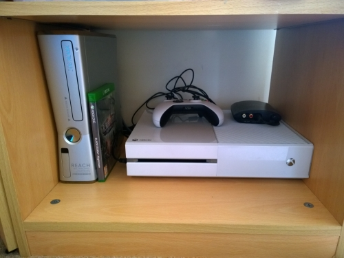Finally my consoles. My 360 (love) and my Xbox One (hate). The games are all stored away elsewhere as I'm mainly a PC gamer anyway