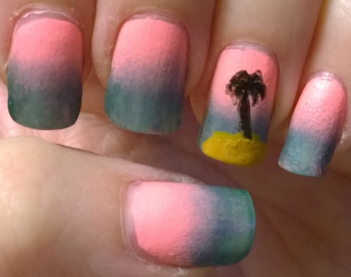 Day 10: Gradient. I had to do a sunset gradient and then used a stencil from the August Meebox to get the palm tree, it did smudge under the stencil slightly though.