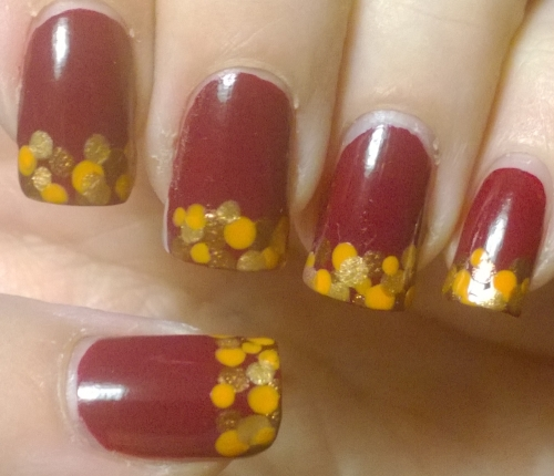 Day 11: Polka Dot. My favourite so far, I love the colours, I love the look, I love the whole thing. Gutted I had to take it off and will definitely redo this one. It was inspired by autumn leaves lying on the ground.