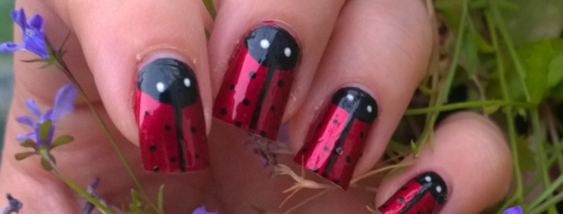 "Day 18: Half Moons. I hate half moon manicures usually but this is actually my favourite so far of the challenge. So proud of my ladybirds! The gorgeous red is A England ""Perceval"" and the black detailing was done with a Models Own nail art pen. The eyes were dotted on with a Barry M nail art pen. Definitely going to recreate this one in the near future. Got tons of compliments at work too!"