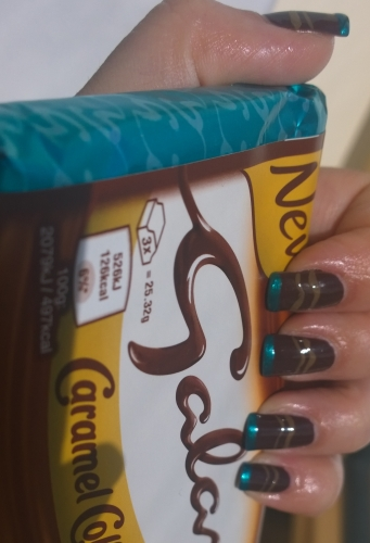 Day 19: Galaxies. Yeah so this is obviously meant to be as in our galaxy, space, all that jazz. But tough, I am obsessed with Galaxy Salted Caramel at the moment and luckily had a Barry M polish the exact colour of the foil so here are my chocolate Galaxy nails