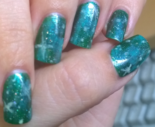 "Day 21: Inspired by a colour. I recently purchased Hercynia from Picture Polish and the tag line on it is ""A galactic forest for your nails"". So since I didn't do galaxy nails for the galaxy prompt I did it for this!"