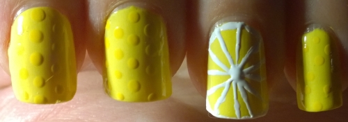 Day 3: Yellow. Lemons! I'm still obsessed with the yellow I got in August's Nailbox so had to use that as the base and am quite pleased with how these turned out.