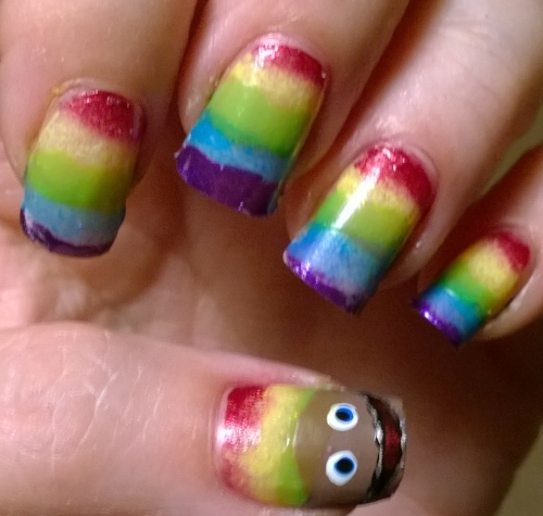 Day 9: Rainbow. 80s kids will love this one! I'm quite proud of Zippy on my thumb, however i was doing this manicure over a peel off base which, well, lived up to its name and started to peel off!
