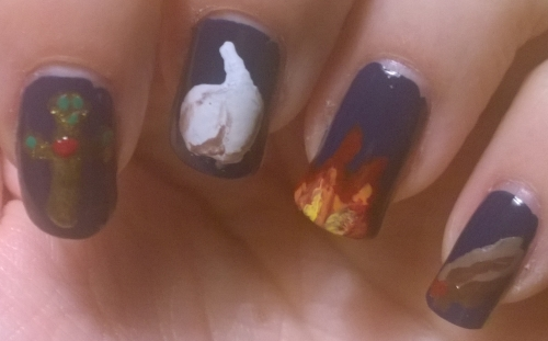 Day 29: Supernatural. This is the closest you'll get to Halloween designs this year now I've chopped by nails back. Inspired by the weaknesses of supernaturals rather than the supernaturals themselves. I'm quite proud of my garlic and fire, the cross isn't bad... let's not talk about the stake.