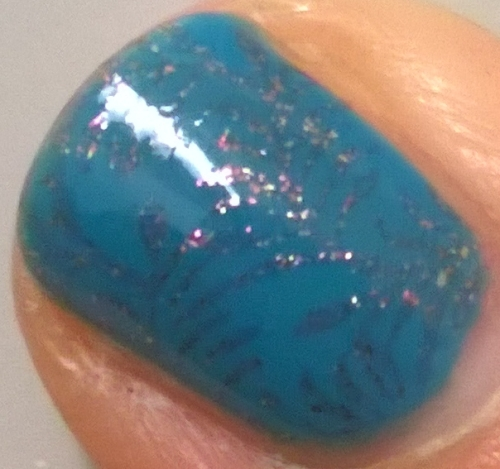 Close up of the stamping and a little shot of the lovely glitter from Sprung