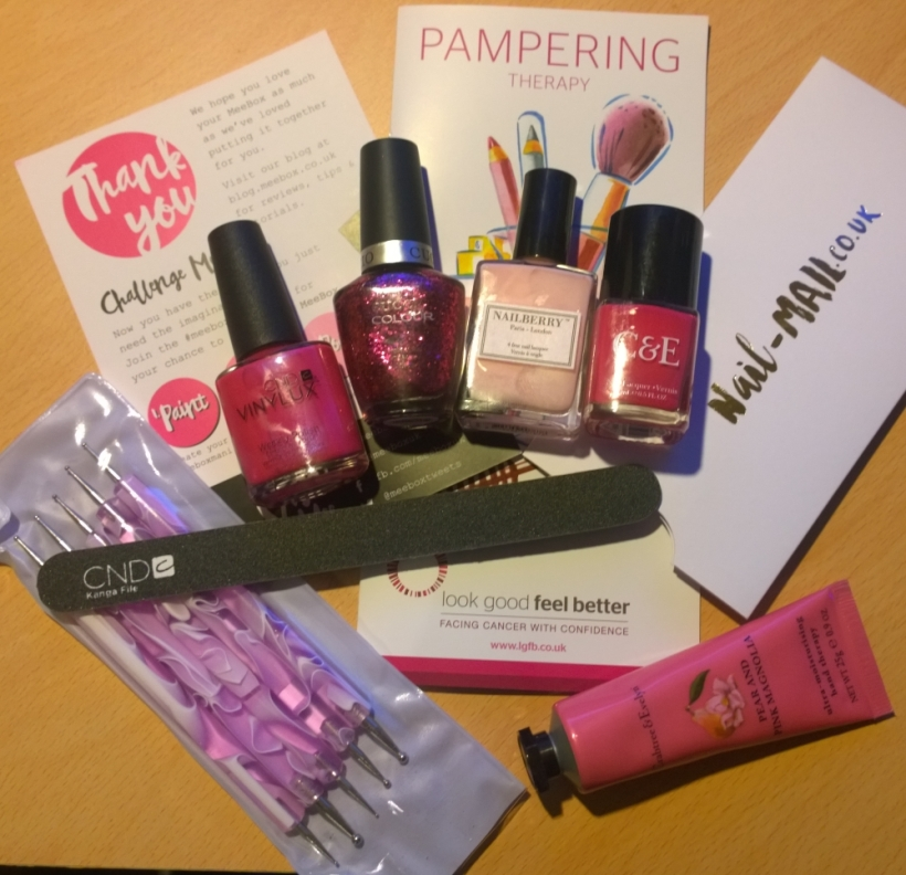 "October Meebox Contents - ""Lucky Dip Pink"" in aid of breast cancer awareness month"
