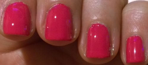 Gorgeous shocking pink, of all the polishes this is the one I'd be more likely to wear.