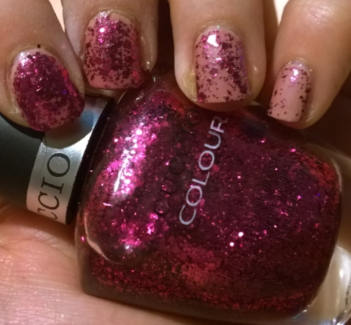 "Cuccio ""Fever of Love"" layered over Nailberry ""Pink Me Up"""