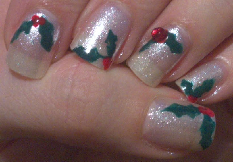 Holly Christmas nails using the polishes from November's Nailbox