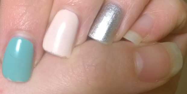 3 days of wear. Chipping starting on the polished nails. Spray on polish on the ring finger looking good as this had been on for 7 days now.