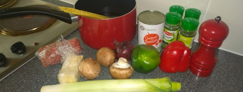 All the ingredients I use for my spaghetti bolognese