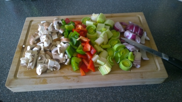 Chopped vegetables ready to be added, looks delicious!
