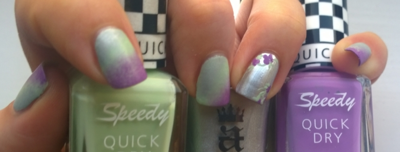 "Polishes used: Barry M ""Pole Position"" and ""Need for Speed"" and A England ""Excalibur Renaissance"""