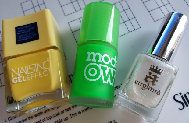 "Nails Inc ""Seven Dials"", Models Own ""Toxic Apple"" and A England ""Morgan le Fay"""