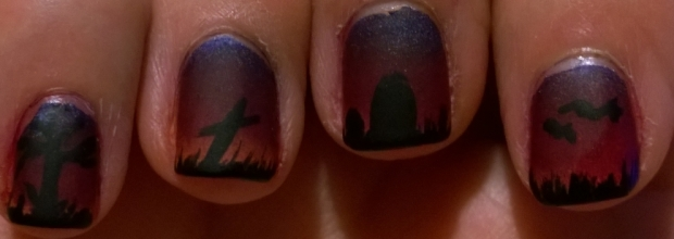 Nail art on my right, quite pleased with how these came out really. The bats are a little wonky on my index but I can live with that.