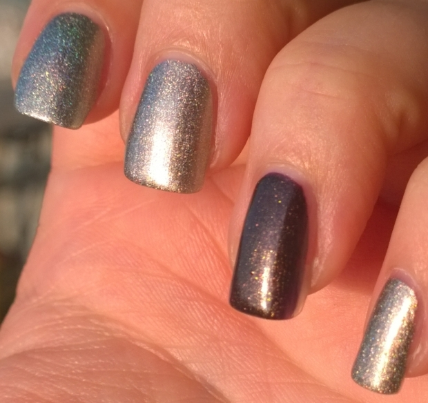 "Pre-watermarble, this was taken in full sunlight. ""Incense Burner"" is the beautiful brown/bronze on my ring finger and ""Katyusha"" is a silver/gold with holographic elements"