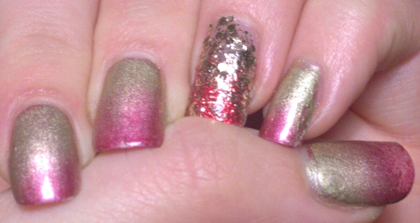 "I think the gold polish may be A England's ""Princess Sabra"". No clue on the other polishes! My plan was to make a fiery looking gradient and I was quite pleased with this, particularly the way the glittery accent nail caught the light"