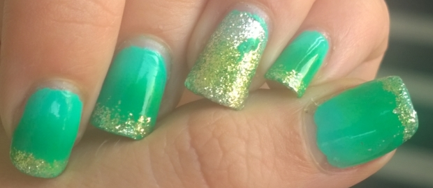 Green glitter gradient. The gradient on the glitter was actually accidental as it was silver glitter that seemed to soak up one of the green polishes I used but it worked out quite nicely