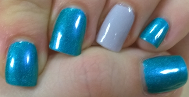 "More a swatch than nail art, these were ""Whispering Waves"" (blue) and ""Cathy"" from A England"