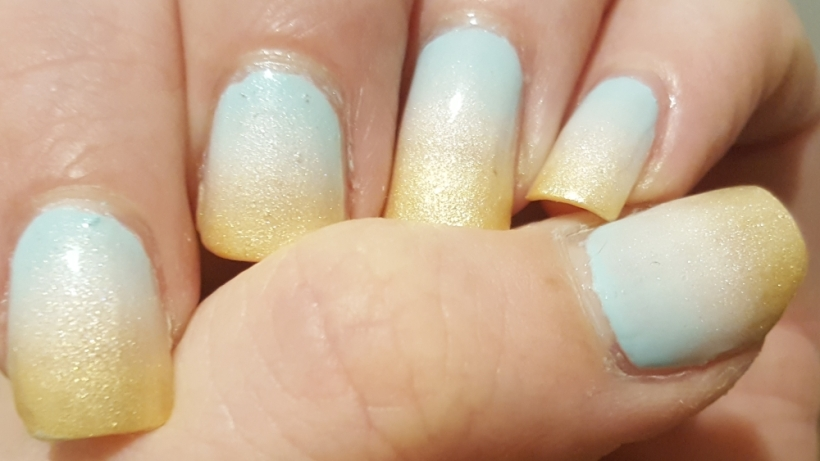 Wintery sunrise nails