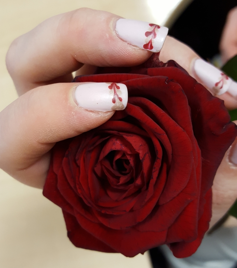 Final shot, love this picture too. Such a perfect rose and these were my two best nails as well