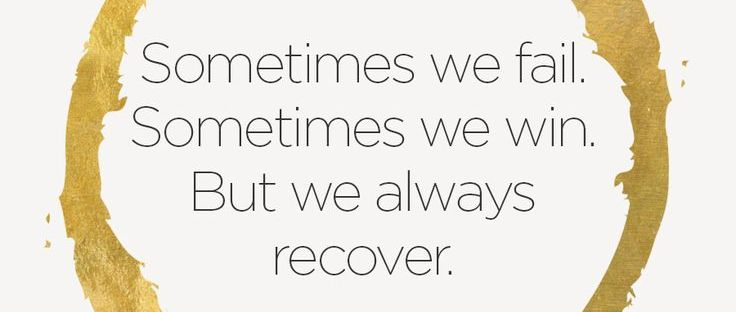 I actually quite like this one but it's still true to my point. No, we don't always recover. If I don't get back to 100% now I'll feel like an even bigger failure!